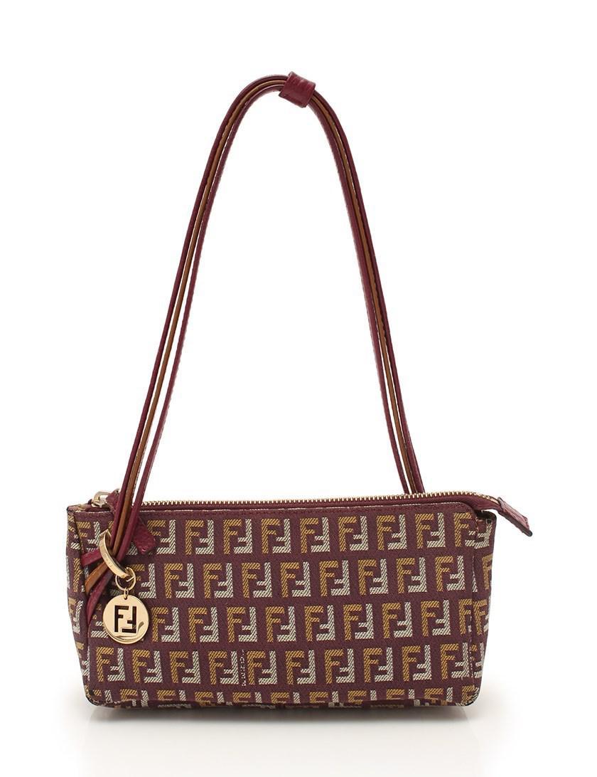 28fd5fc0630 Lyst - Fendi Mini Handbag Zucca Pattern Canvas Leather Tea in Brown