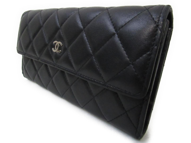 e538248398b2 Chanel Matelasse Bi-fold Long Wallet Black Lambskin Leather in Black ...