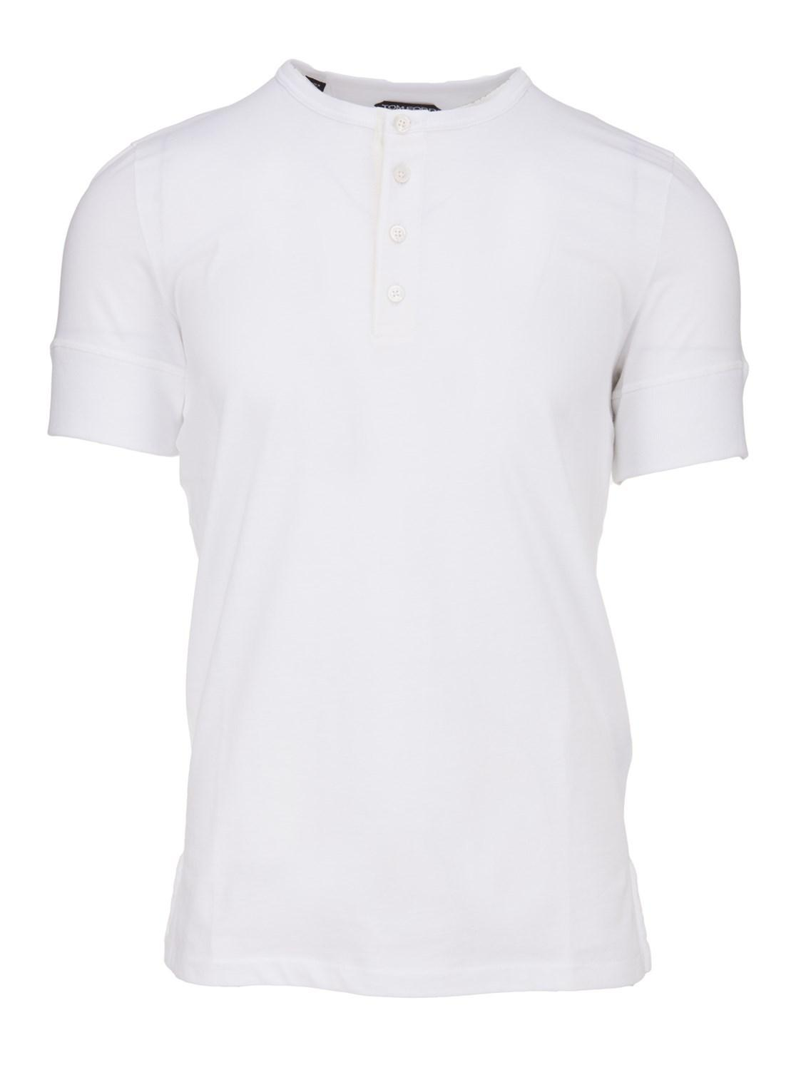 Lyst Tom Ford White Henley T Shirt In Blend Cashmere With Buttons