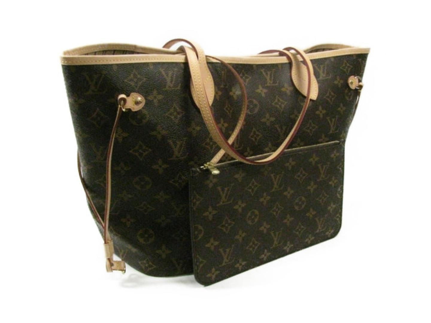 302aa73253be Lyst - Louis Vuitton Neverfull Mm Shoulder Tote Bag Monogram Canvas ...