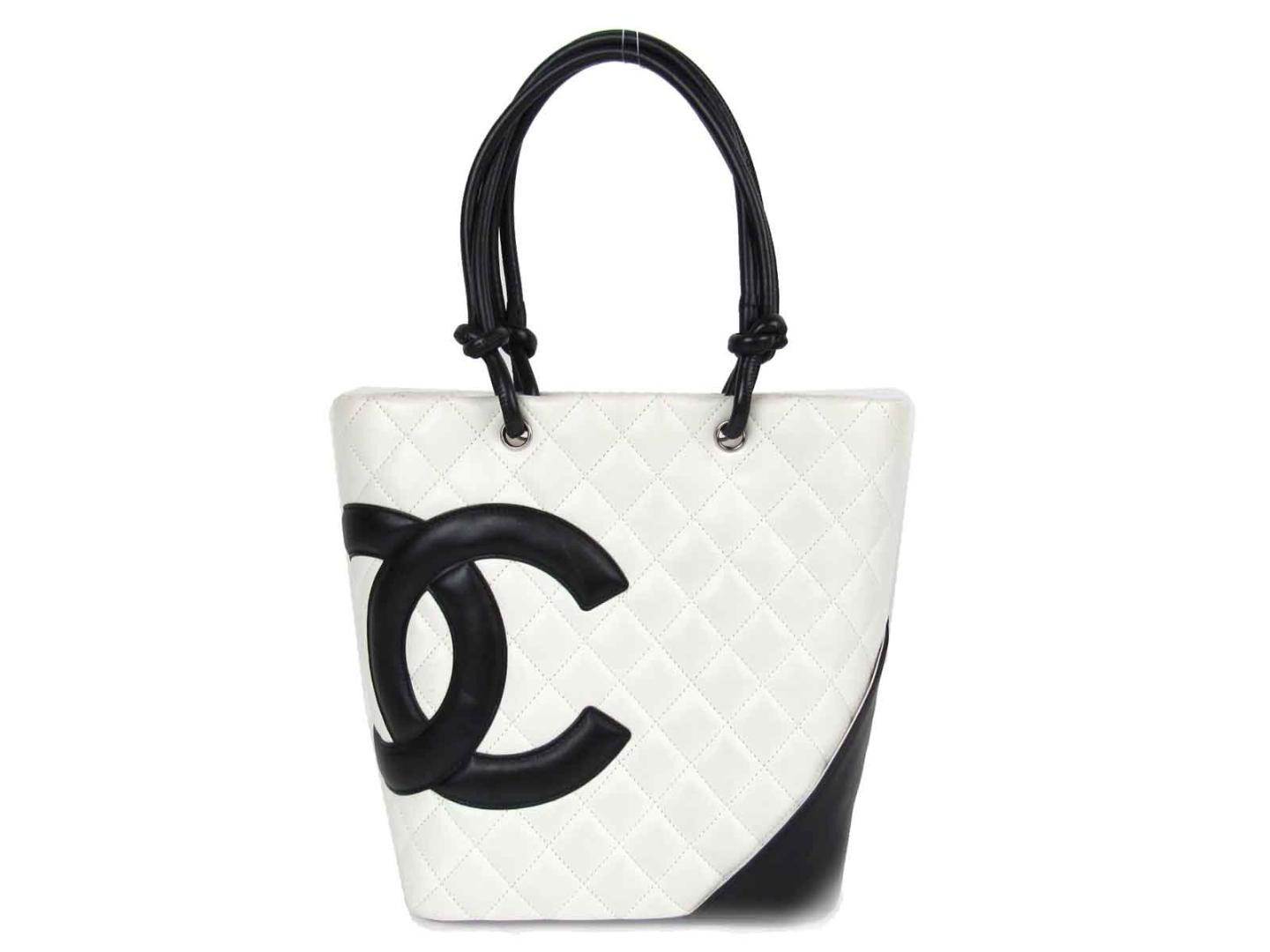 6f998ebea1 Chanel Cambon Ligne Medium Tote Bag Quilted Lambskin Leather White ...