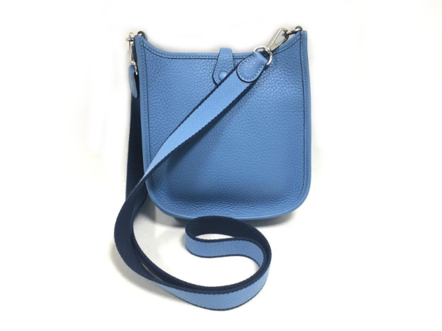 41f1574acf7d ... usa lyst hermès evelyn tpm shoulder bag clemence leather blue paradise  a1439 eb124