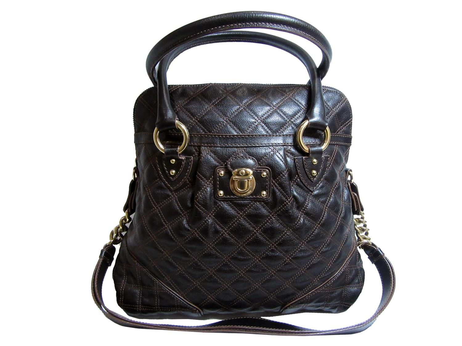 e5c820c3b6b7 Lyst - Marc Jacobs Auth Quilted Shoulder Handbag Brown Leather Used ...