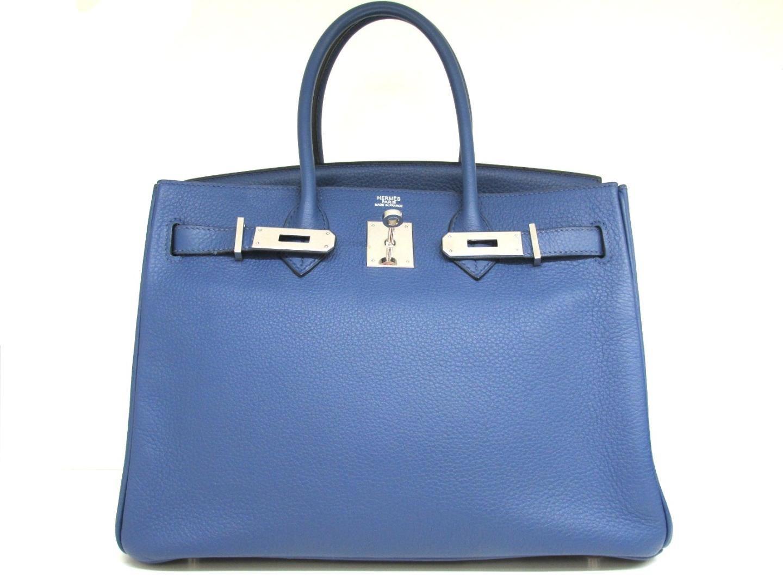 e56c943fcef Lyst - Hermès Birkin 30 Handbag Blue Brighton (metal Fittings silver ...