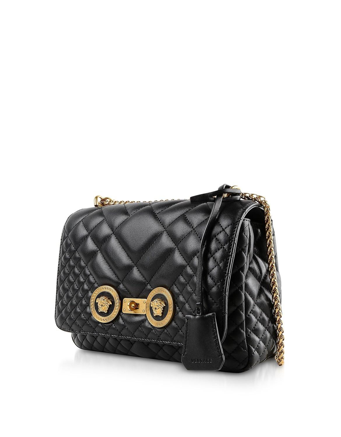 a20dfb05b31b Lyst - Versace Medium Black Quilted Leather Shoulder Bag in Black