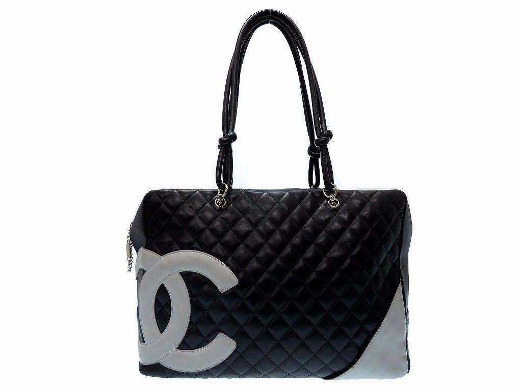 b3a3e7ecfd8b Lyst - Chanel Cambon Linehand Bag Black/white Leather 0351 in Black