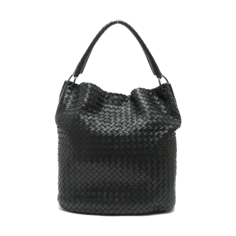 61e81a7501a47 Bottega Veneta. Women's Auth Intrecciato Bucket Shoulder Handbag Black  Leather Vintage