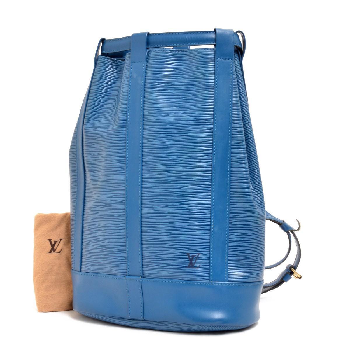 2aac3cfba3d6 Lyst - Louis Vuitton Epi Leather Randnet Shoulder Bag M52355 in Blue