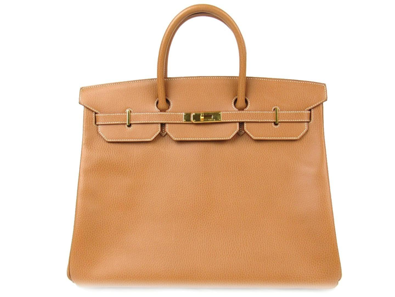 71d444e6f0f Lyst - Hermès Birkin 40 Handbag Ardennes Leather Gold Brown in Metallic
