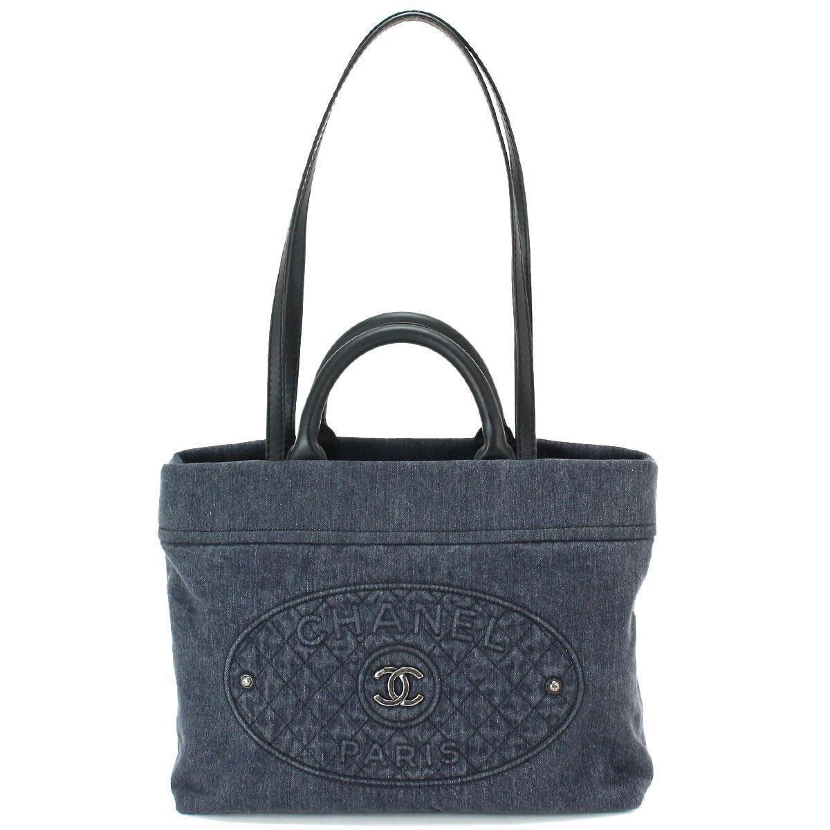 44d76ee6cf03 Chanel Denim 2way Tote Shoulder Bag Blue Black Leather A93373 ...