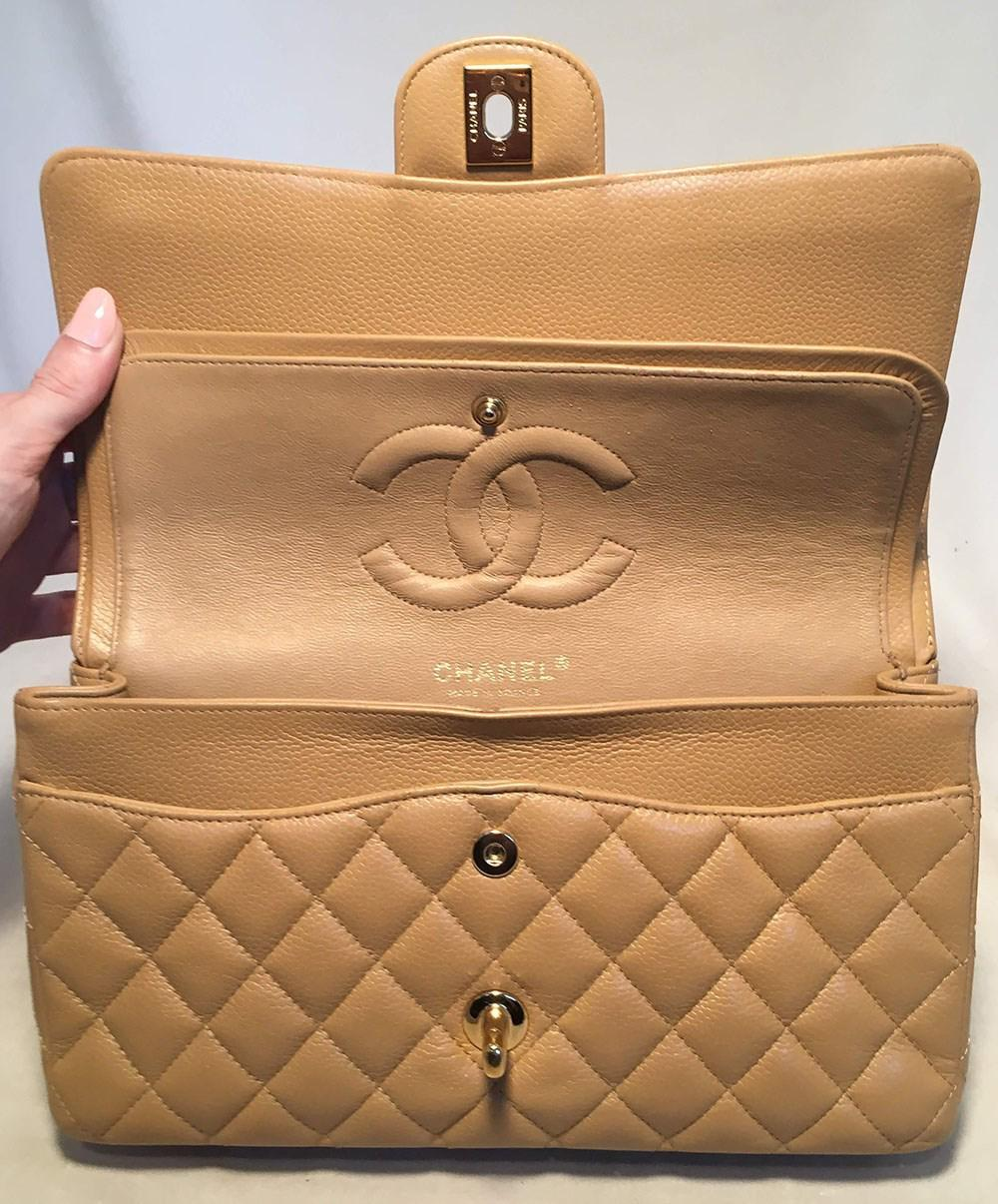 fb6215f321b9 Chanel Tan 10inch Quilted Caviar 2.55 Double Flap Classic Shoulder ...