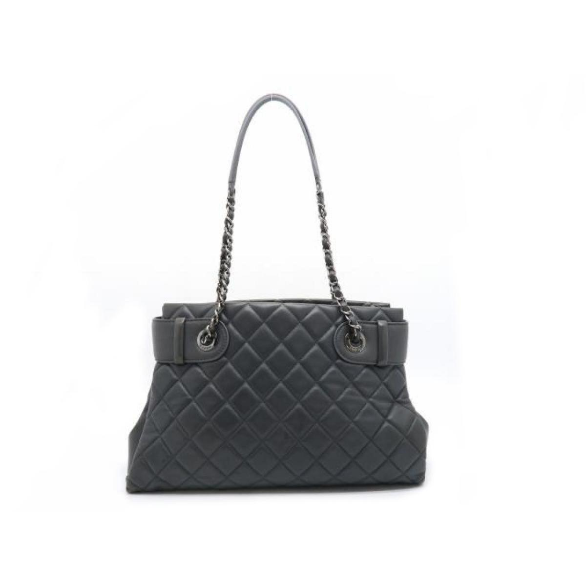 6aca643f6418 Chanel - Cc Mark Stitch Shw Chain Tote Shoulder Bag Lamb Leather Gray Used  Vintage -. View fullscreen