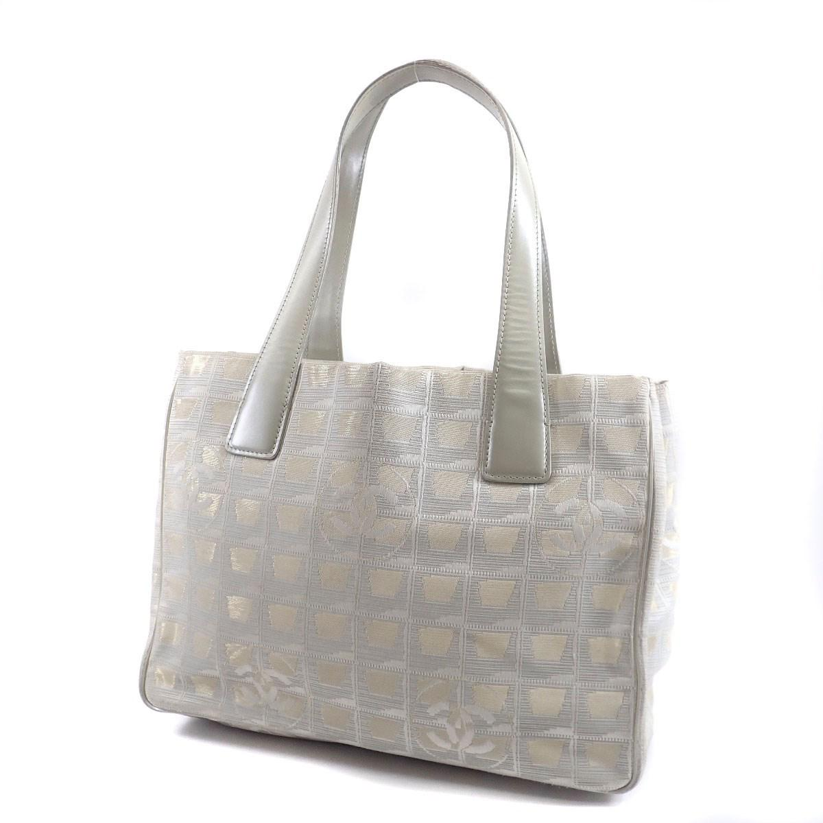 ec2493bf92c8 Lyst - Chanel Nylon Jacquard Tote Bag New Travel Line Pm in Gray