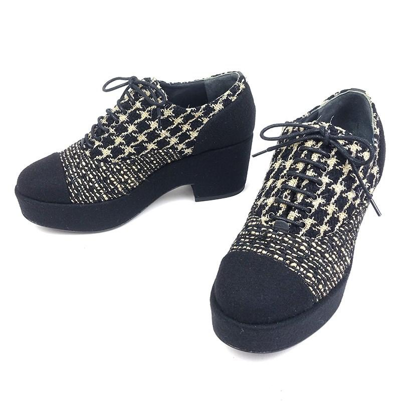 d6a2c9a93f7d Lyst - Chanel Tweed Lace Up Platform Shoes Coco Mark Black  36 in ...
