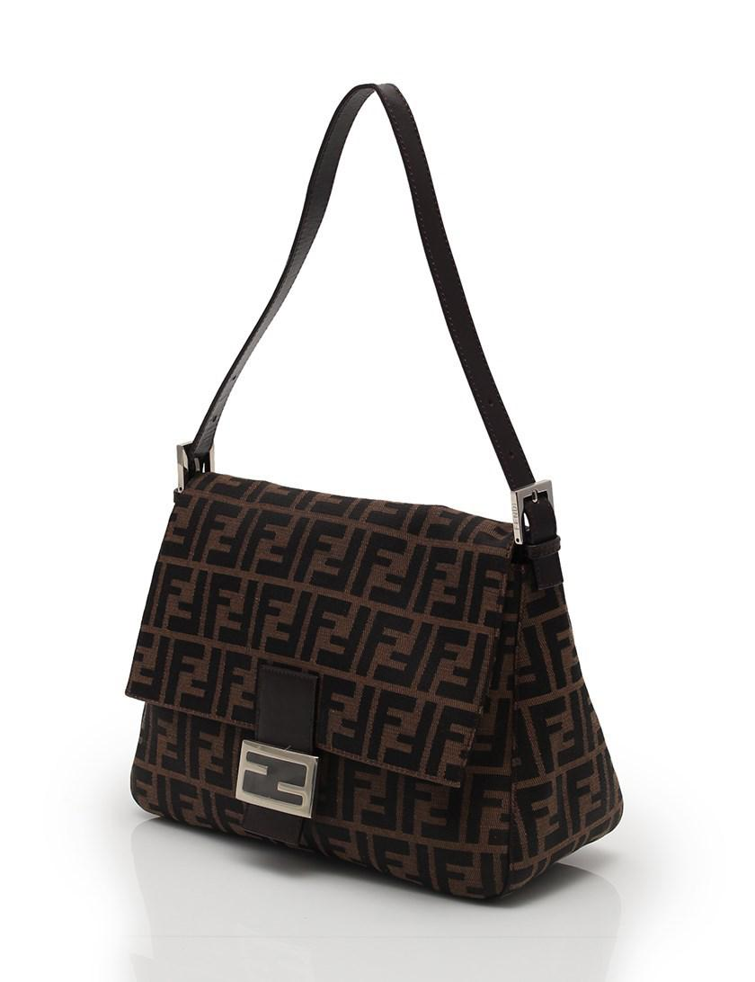 5f664341b5bc Lyst - Fendi Zucca Mamma Bucket Shoulder Bag Canvas Leather Brown ...
