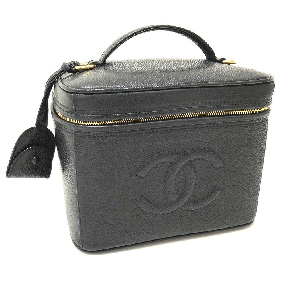 226ee83b1b0f22 Chanel Cc 2 Way Bag Vanity Bag Shoulder Bag Hand Bag Black Caviar ...