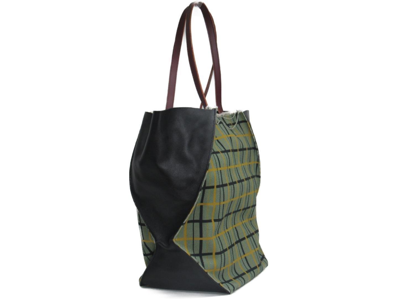 df7d4115e35 Lyst - Marni Authentic Tote Hand Bag Leather Calf cotton Green black ...