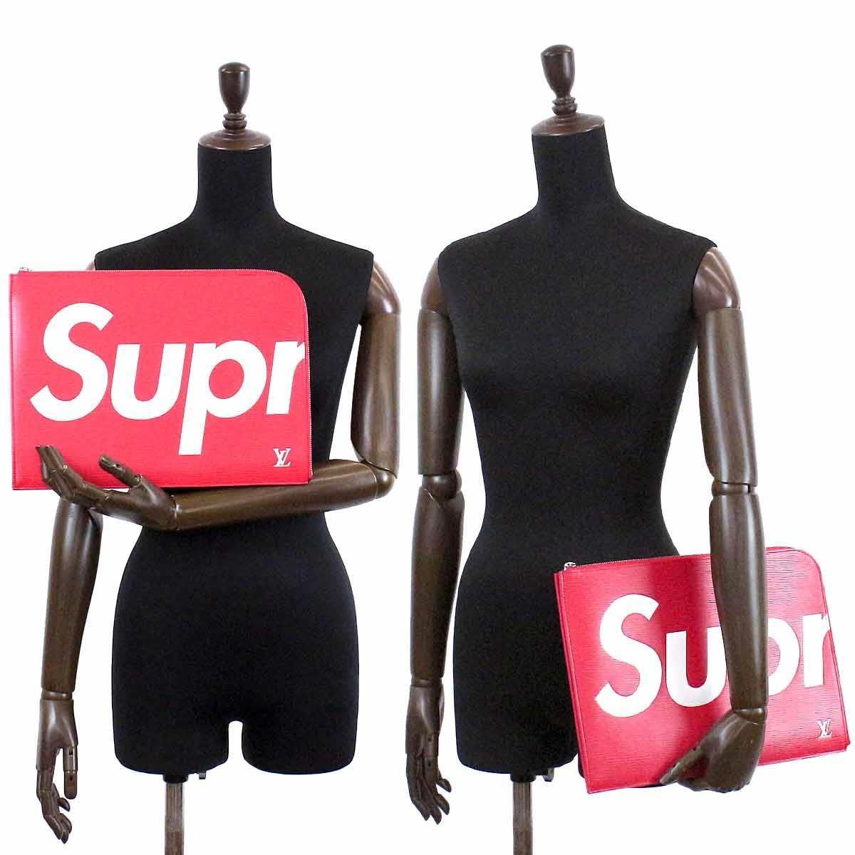 56cd695da628 Lyst - Louis Vuitton Supreme Pochette Jour Gm Clutch Bag Red M67722 ...