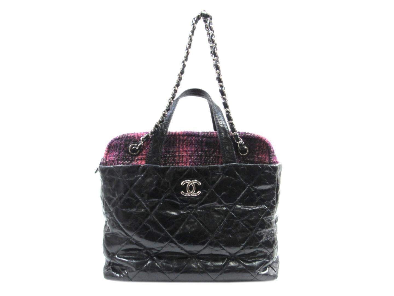 1aa268e3e8ed Lyst - Chanel Portobello Bag 2way Bag Leather Tweed Black Pink in Black