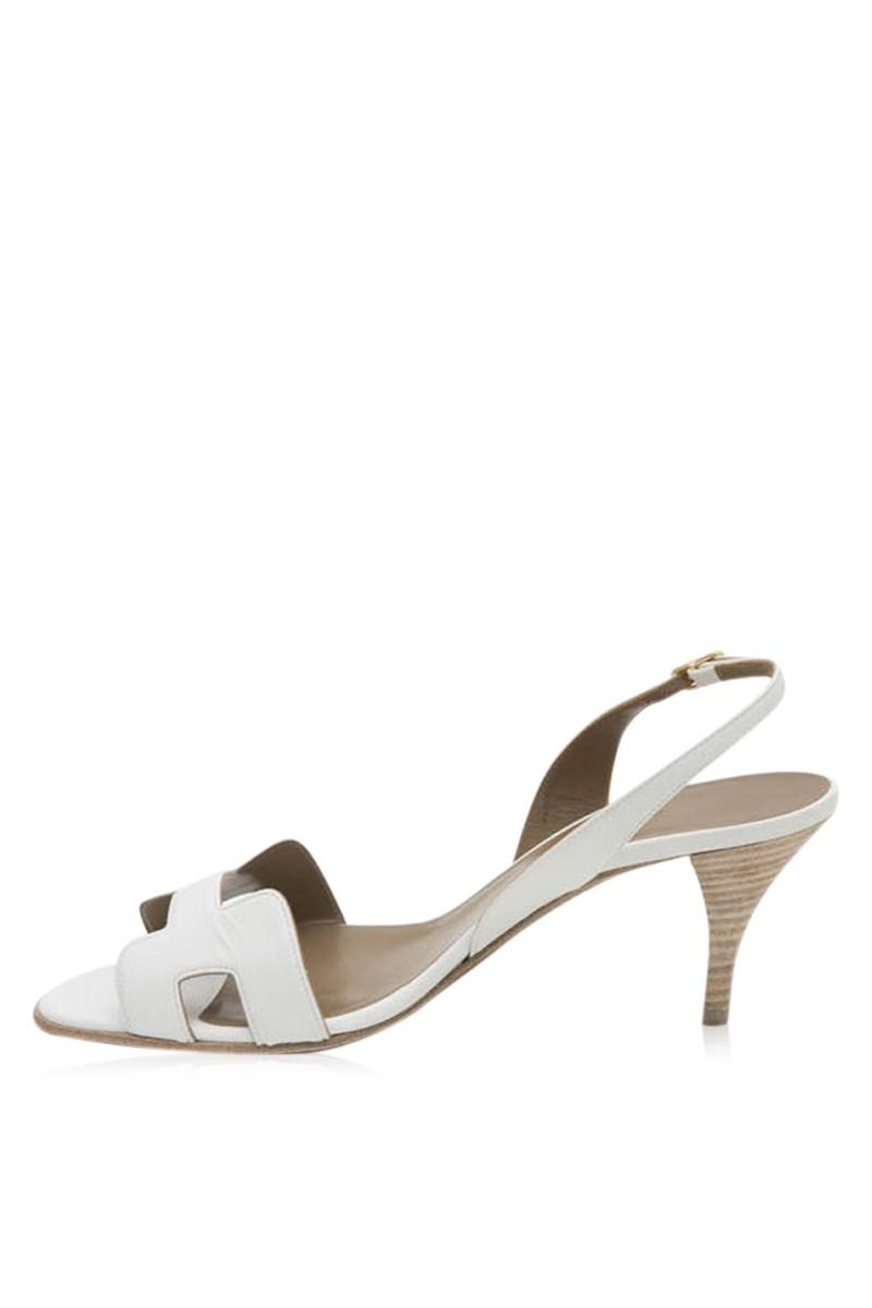 ec2364a356 Hermès 'oran' High Heels Sandals In White Smooth Leather Size 39fr ...