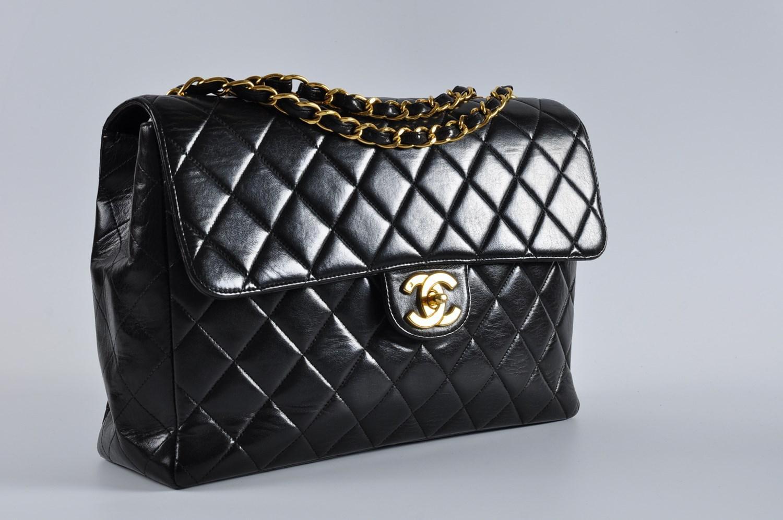 22ff7b6748d3 Chanel Vintage Jumbo Black Small Cc Lambskin Single Flap Bag Ghw in ...