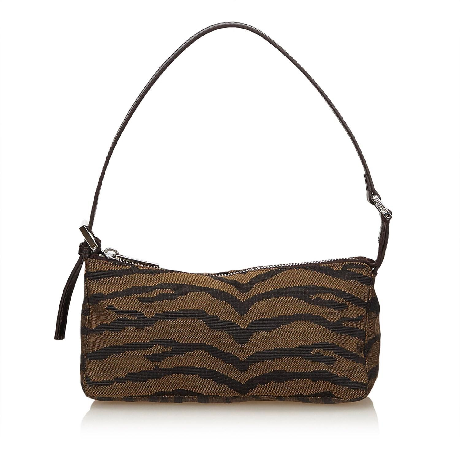7dd55fb85185 Lyst - Fendi Printed Jacquard Handbag in Brown