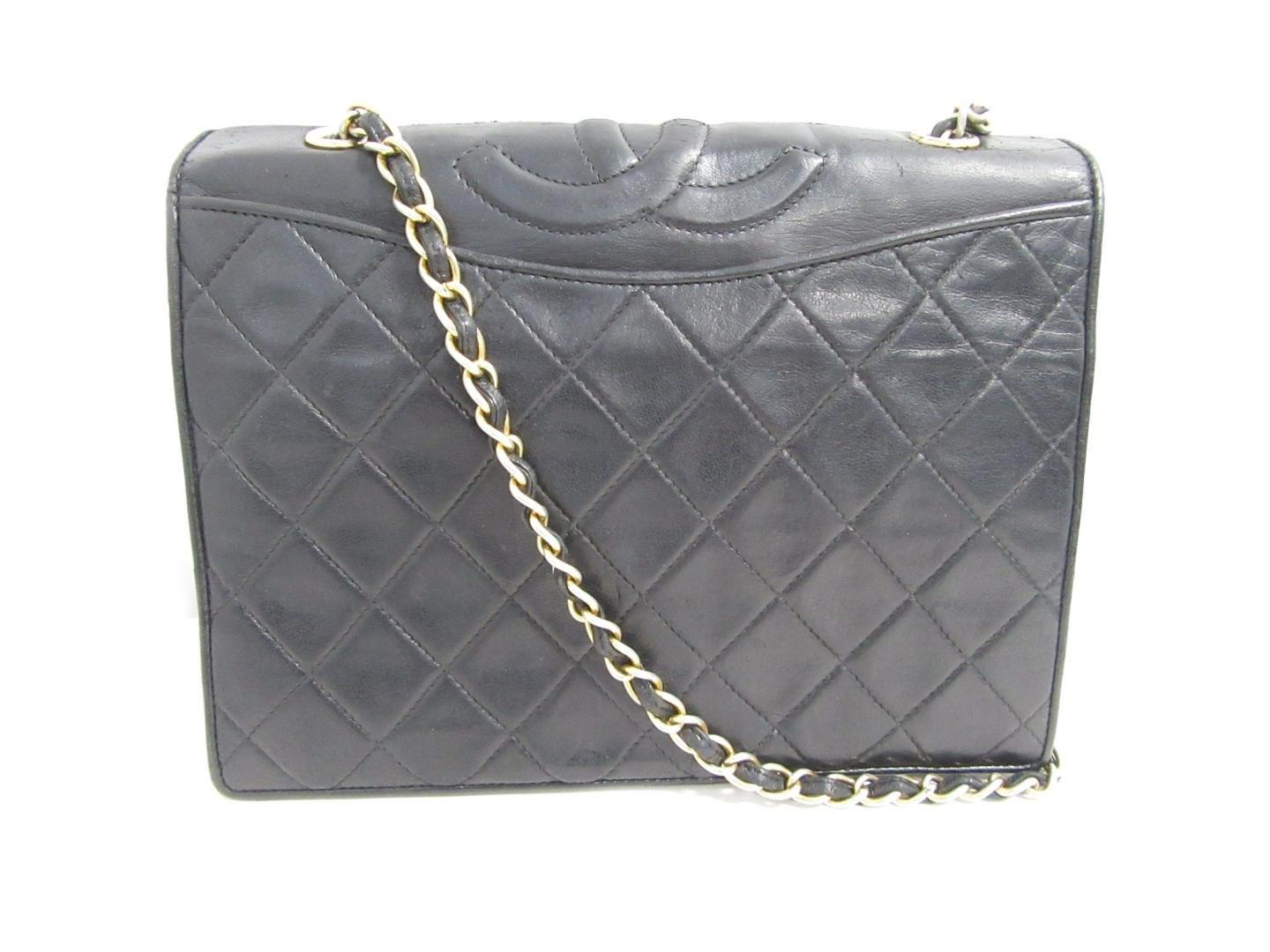 Lyst - Chanel Auth Matelasse Chain Shoulder Bag Lamb Leather Black ... 70130692a8a23