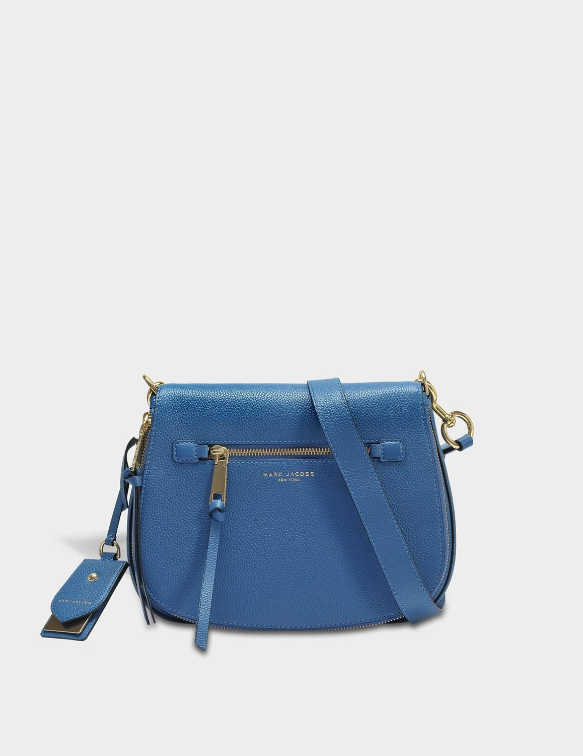 4a105393822b Lyst - Marc Jacobs Recruit Nomad Crossbody Bag In Vintage Blue Cow ...