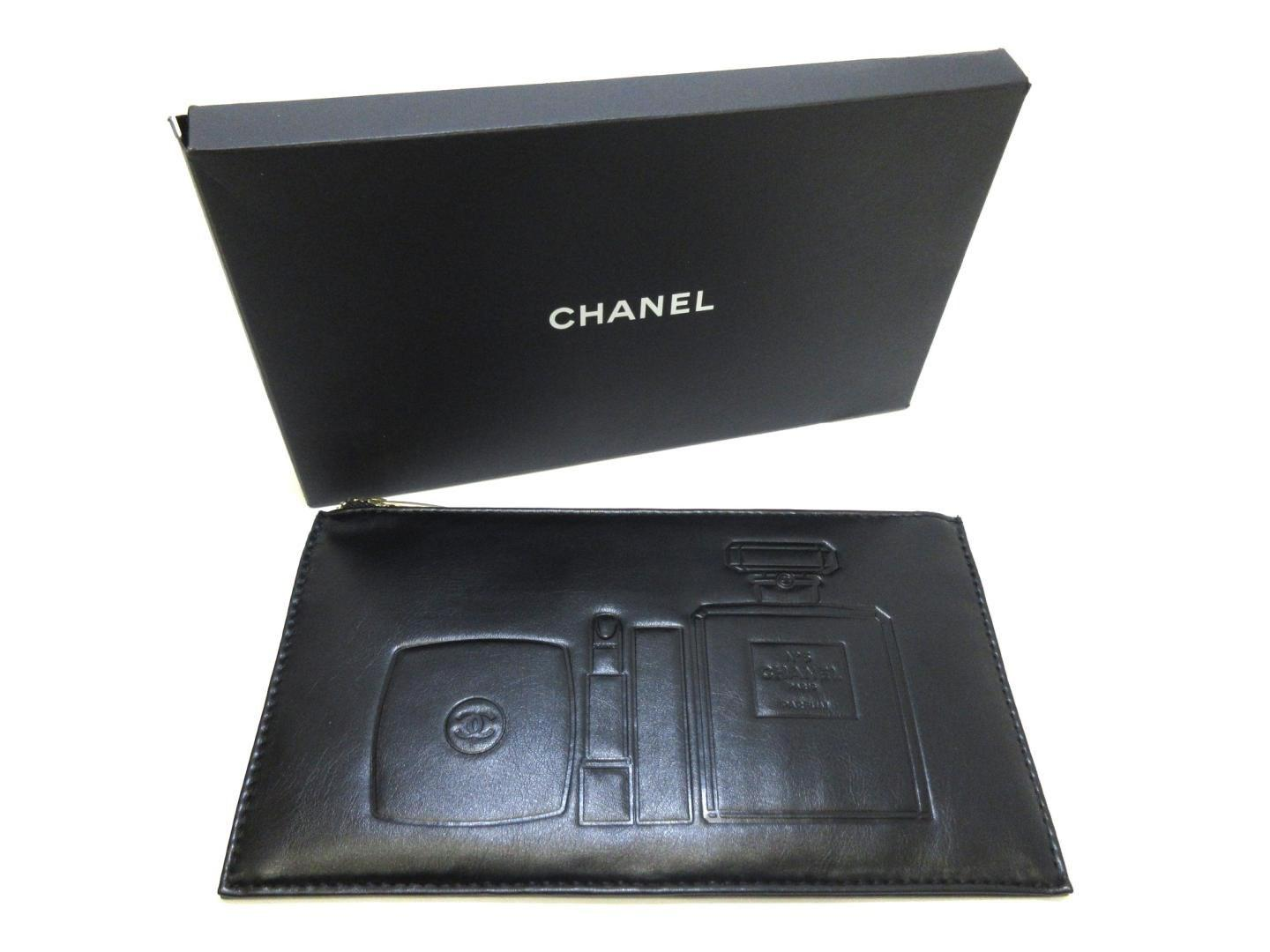 f6d4f727090163 Chanel Beaute Lamb Leather Makeup Pouch Novelty Black in Black - Lyst