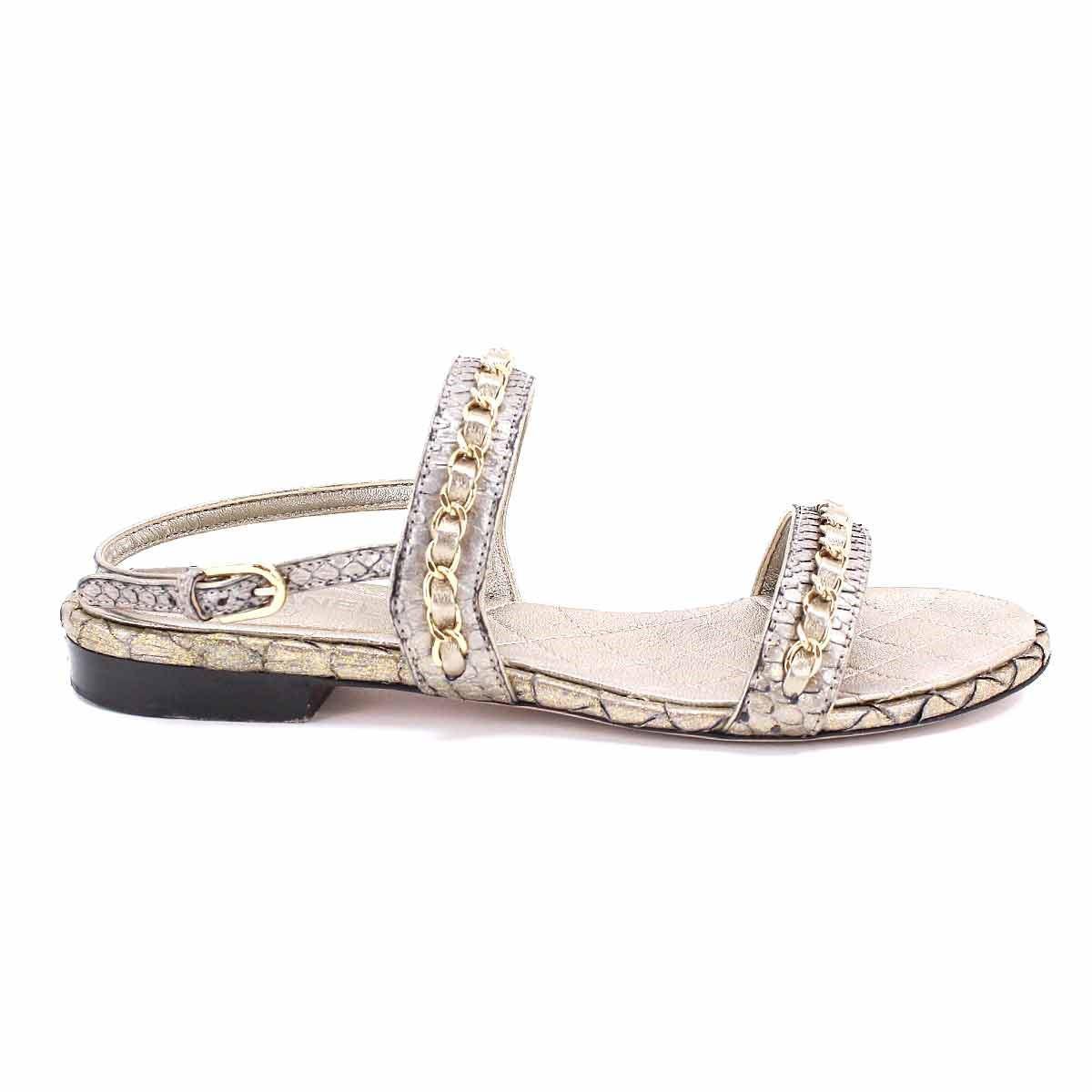 44328d3ddd51 Lyst - Chanel Chain Flat Sandals Leather Gold 35.5 Women s 90045859 ...