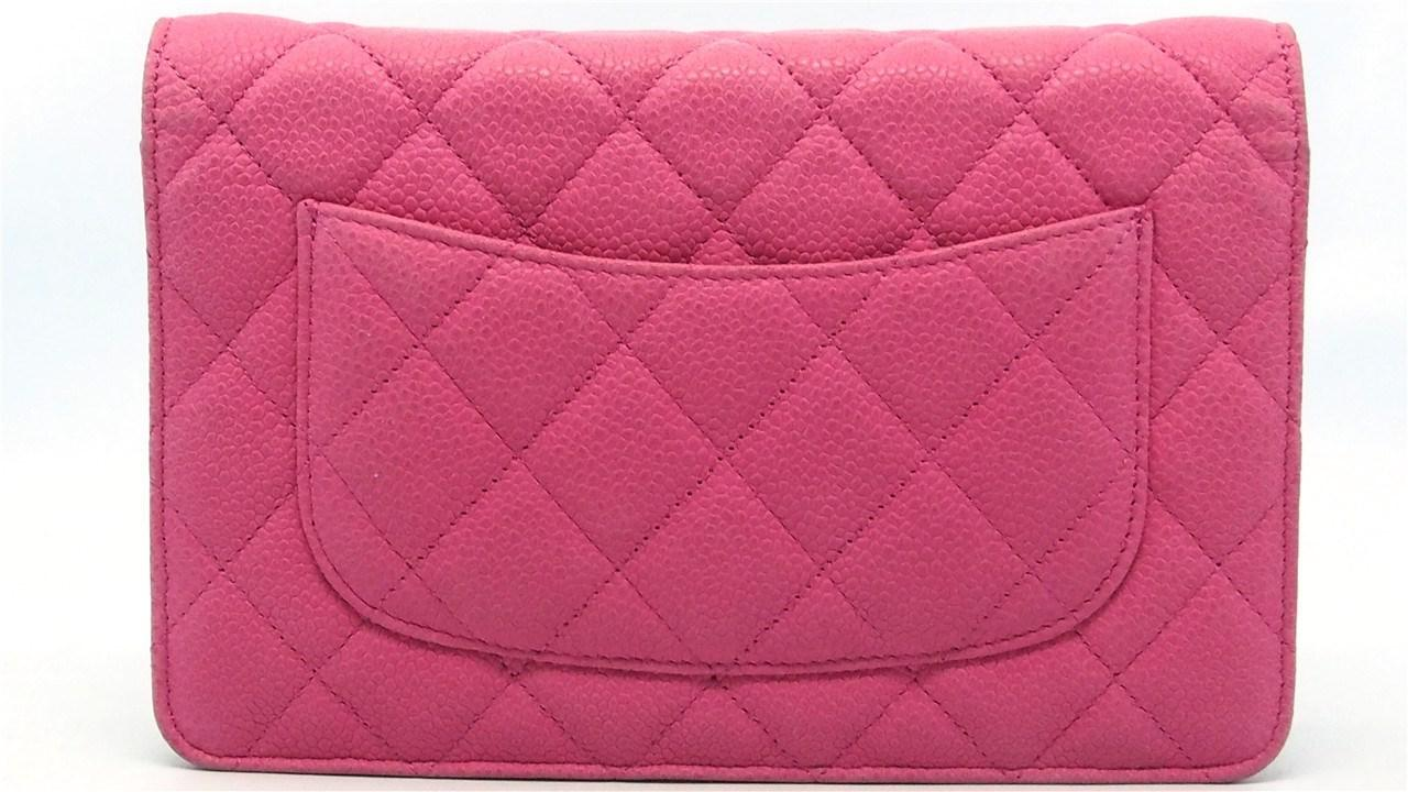 edbb82b5297a65 Chanel Authentic Hot Pink Quilted Caviar Leather Woc Wallet On Chain ...