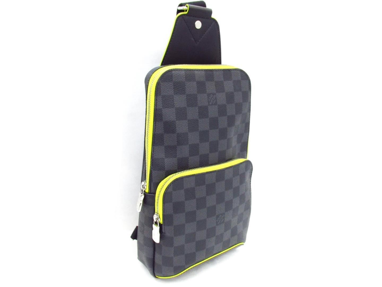 Prix de gros 2019 prix limité haut de gamme authentique Louis Vuitton Avenue Sling Body Bag N42424 Damier Graphite/leather Gray  Jaune for men