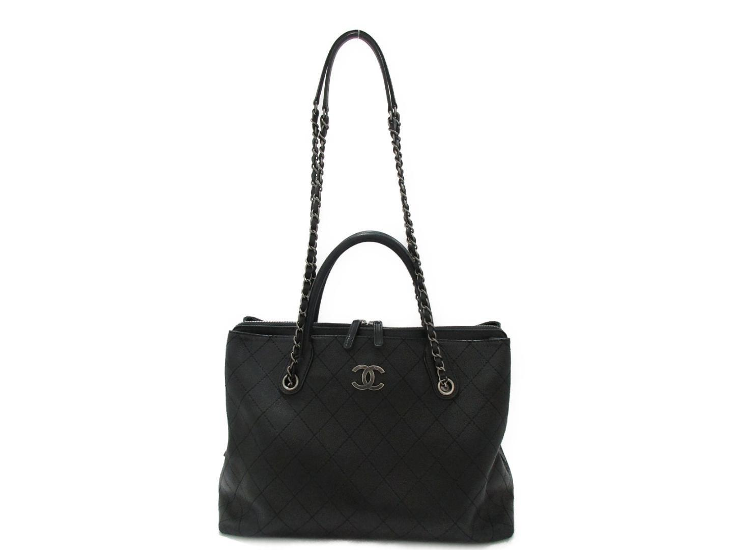 193a1ed84db7 Lyst - Chanel 2way Chain Shoulder Tote Bag Caviar Skin Leather Black ...