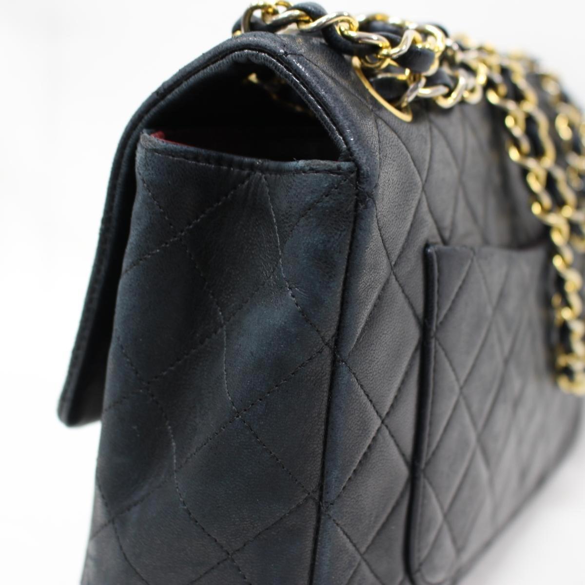 d5bc68ec61401 Lyst - Chanel Matelasse Chain Shoulder Bag Lamb Skin Leather Black ...