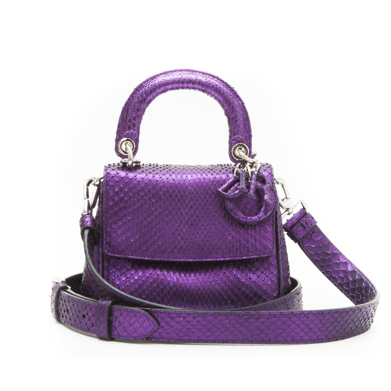 Dior Metallic Purple Python Double Flap Bag N720Ve0