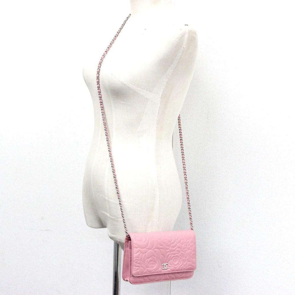 45aca1f67d3c Lyst - Chanel Authentic Camellia Embossed Chain Wallet Pink/silverhw ...