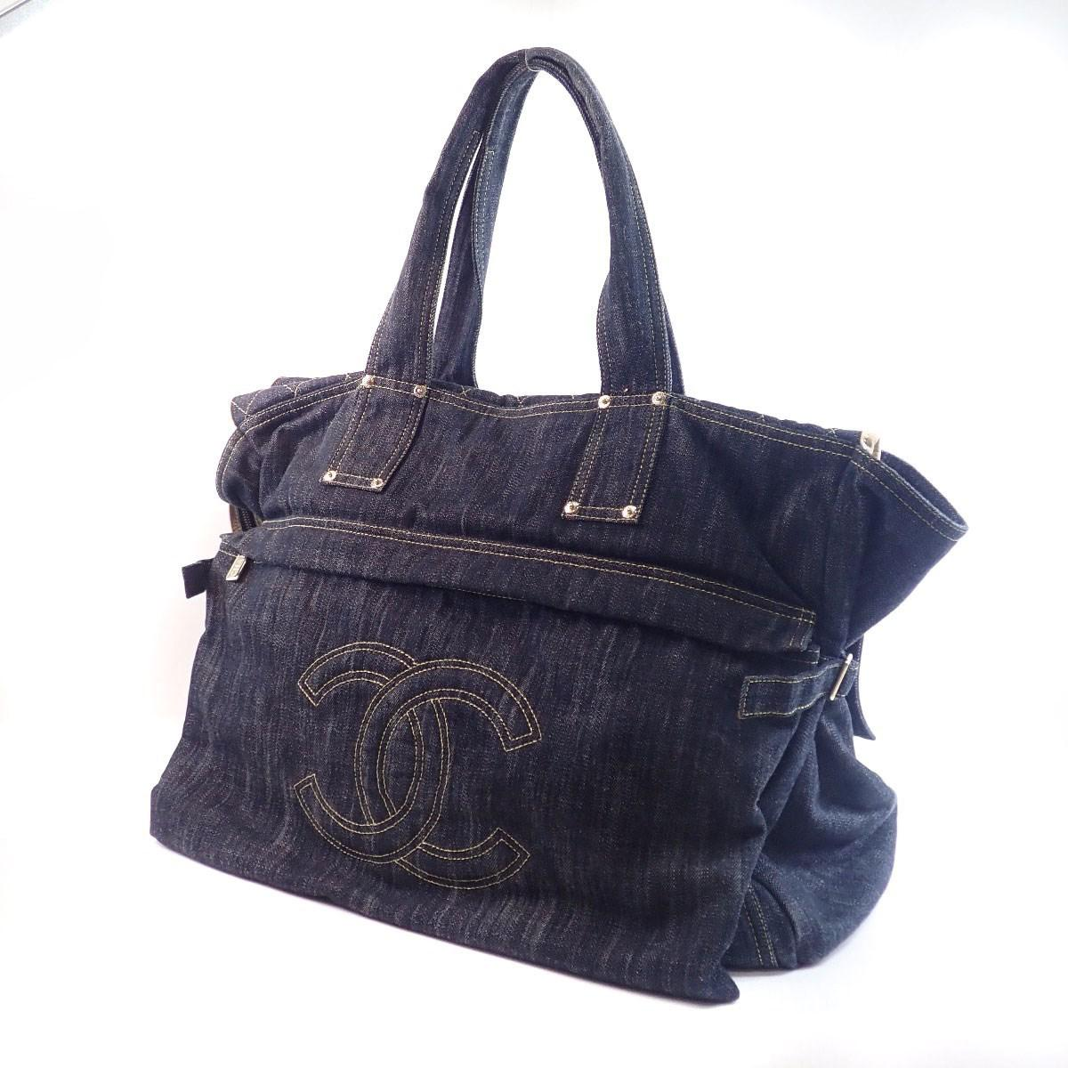 f91a669c91f Lyst - Chanel Denim Tote Bag Coco Mark in Blue