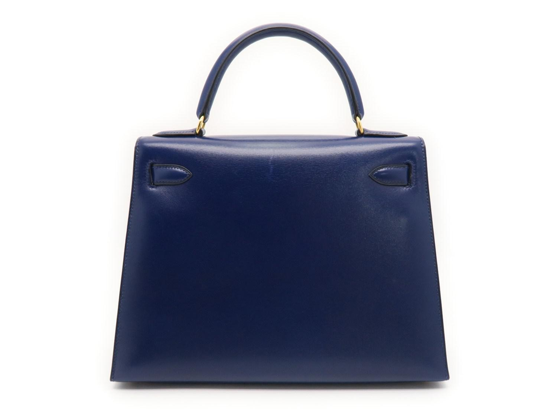 7460a8c681f Hermès Box Calf Leather Kelly 28 Gold Metal Satchel Bag Bleu Saphir ...