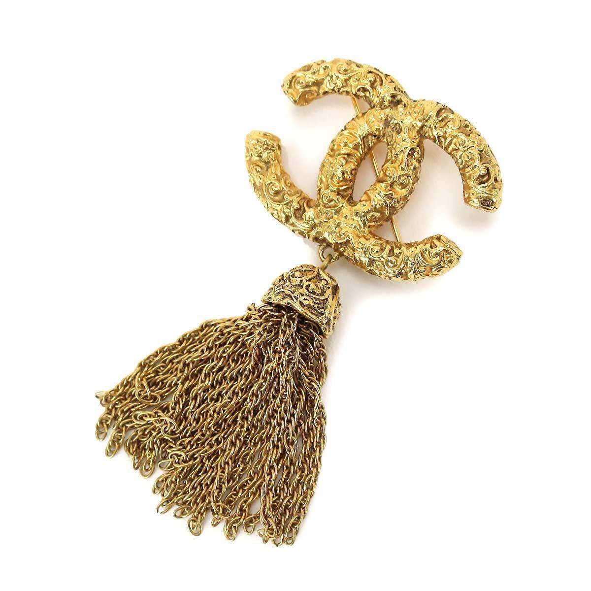 Lyst - Chanel Cc Logos Fringe Brooch Gold 03a 90034938.. in Metallic 0b36cb096cd