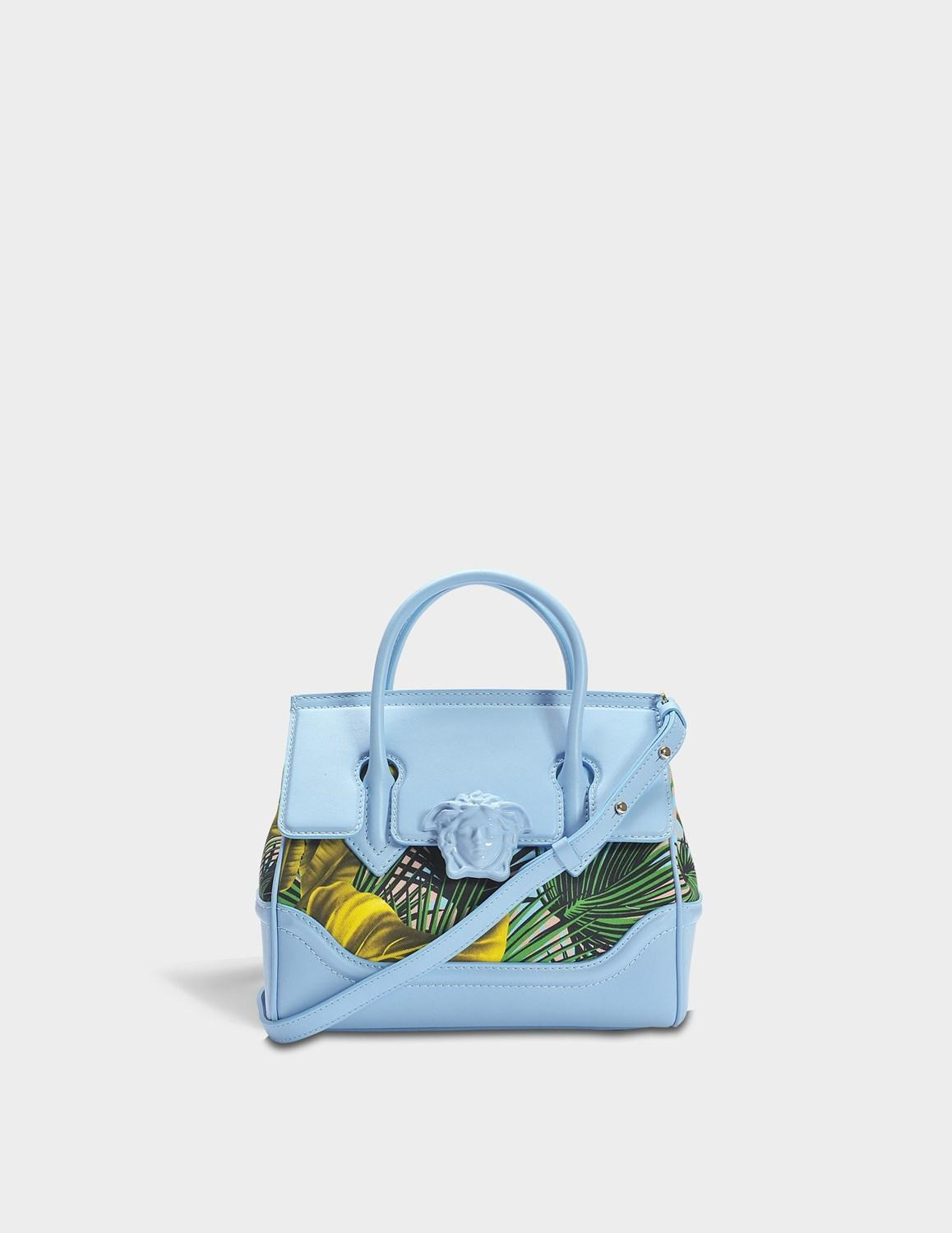 1ee034fd92df Versace - Palazzo Empire Small Bag In Multicolour Baby Blue Calf And Drill  Cotton - Lyst