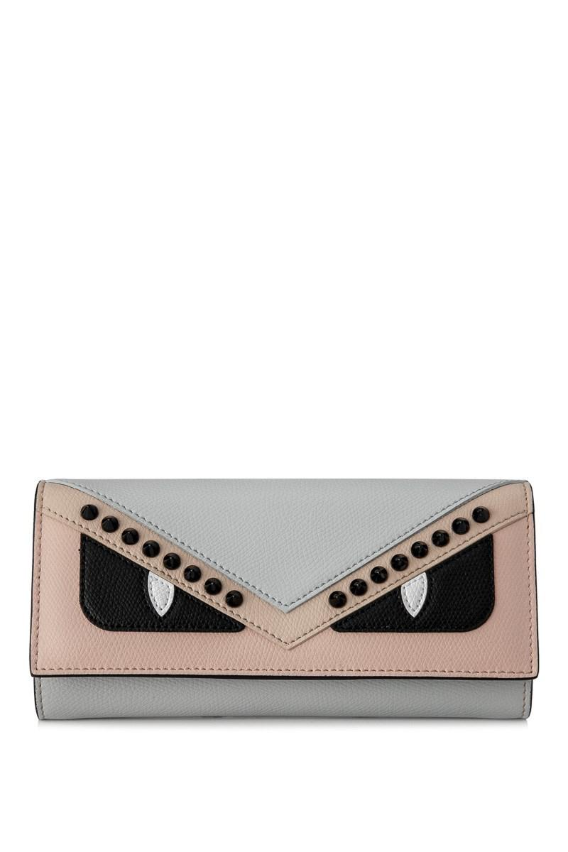 27416a6a58a6 Lyst - Fendi Leather Continental Flap Wallet in Blue
