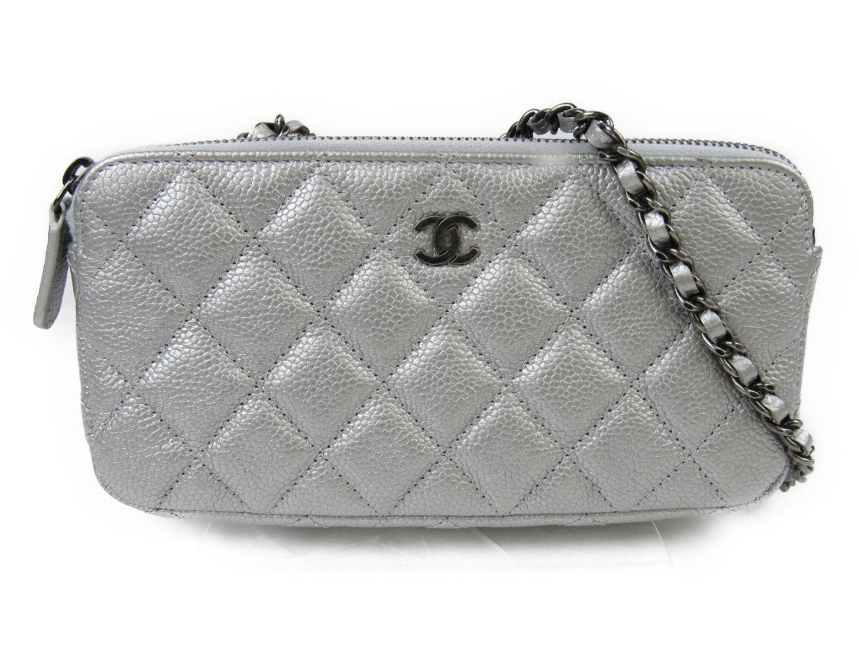 41fd64dfc5622e Chanel Matelasse Chain Wallet Shoulder Bag Caviar Leather Silver in ...