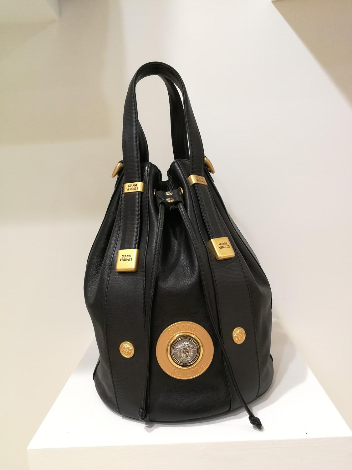 Lyst - Versace Gianni Black Leather Gold And Silver Tone Studs ... 3daf3f177e