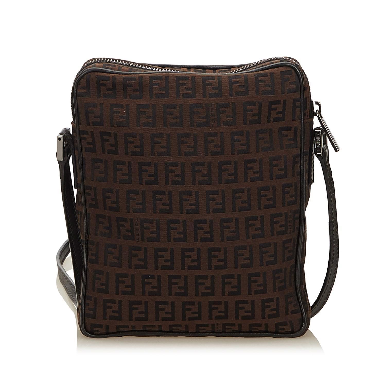 e0978c90e0 Lyst - Fendi Zucchino Canvas Crossbody Bag in Natural