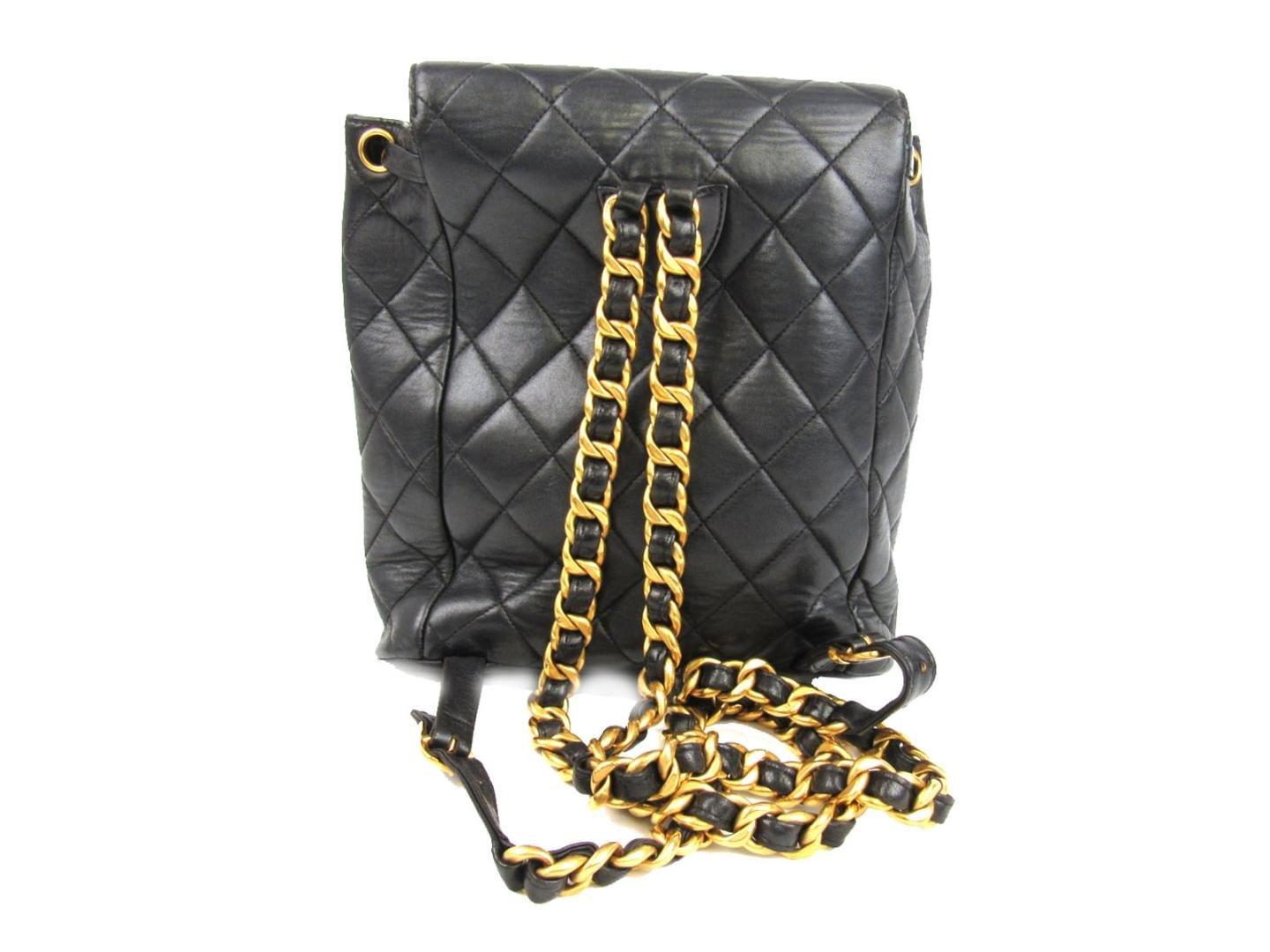 58788c4ee687 Chanel Matelasse Chain Backpack Cc Black Lambskin Leather Quilted in ...