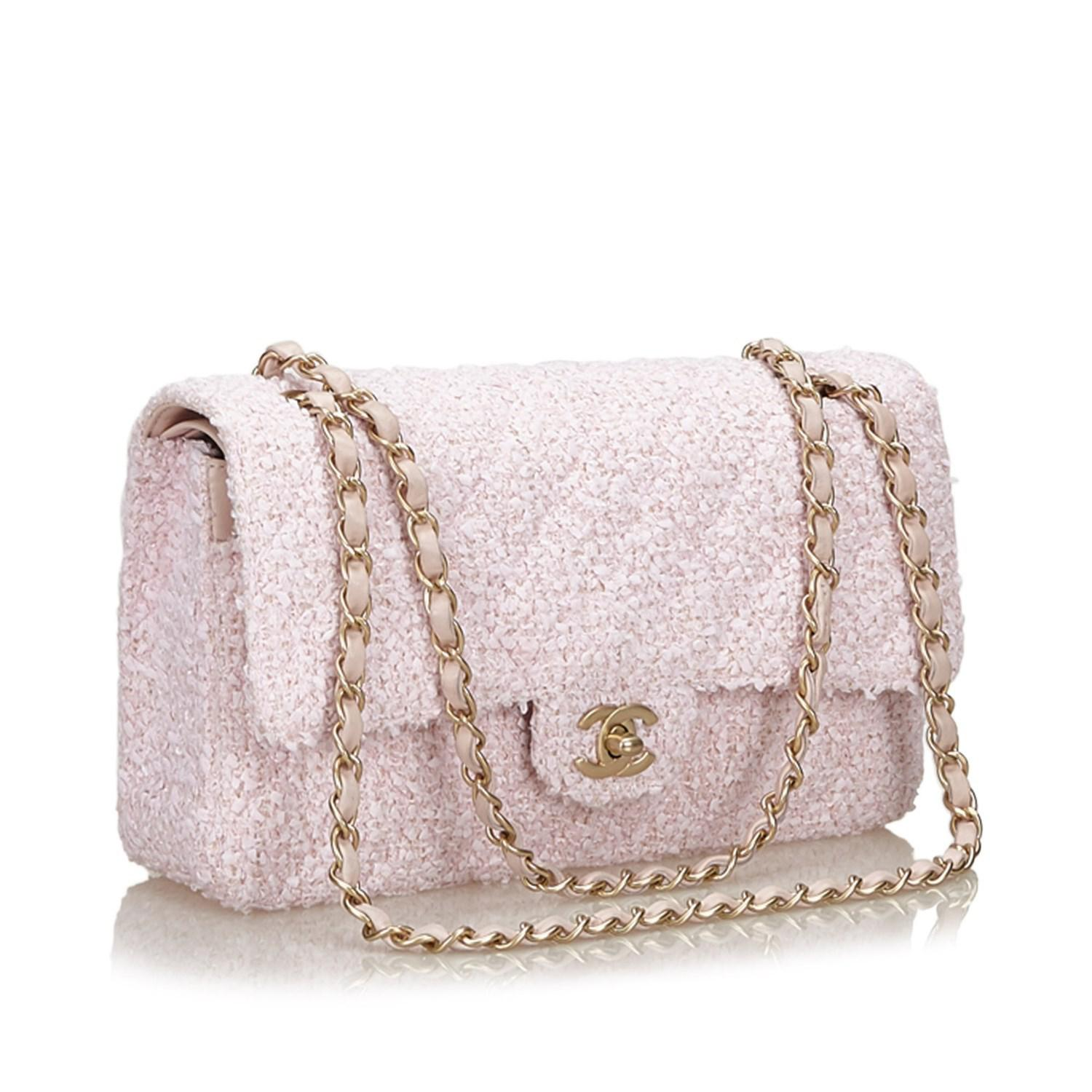 8e3310507210a Lyst - Chanel Small Classic Tweed Double Flap Bag in Pink