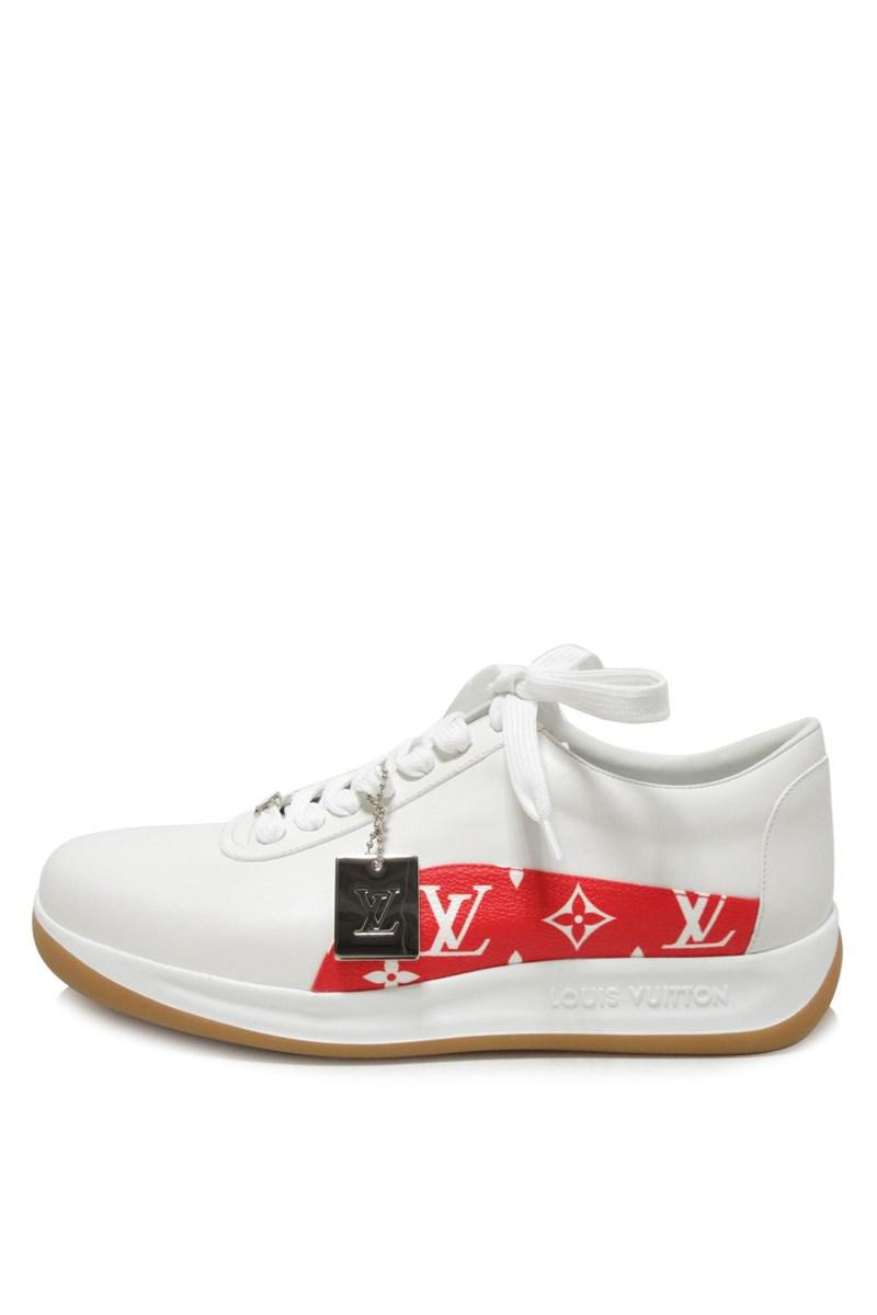 ff1213922c1e Lyst - Louis Vuitton White Leather Monogram Red Sneaker Limited ...