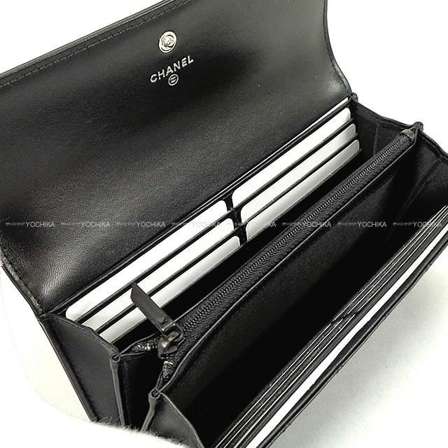 fda9f75bcd45d7 Chanel Boy Flap Long Wallet Black Lamb Skin A80286[brand New ...