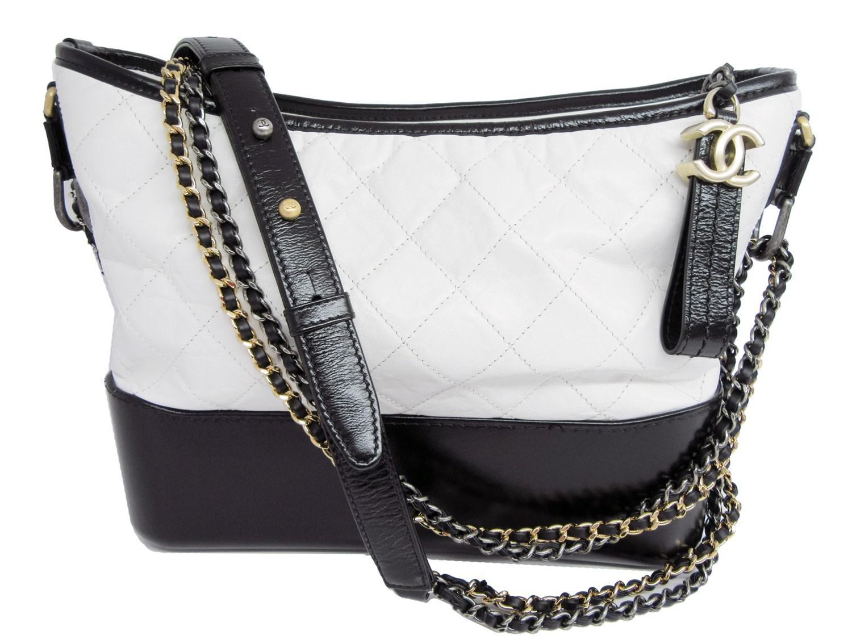 b929d2b3c0a4fc Chanel Gabrielle Hobo Bag Black White Leather in Black - Lyst