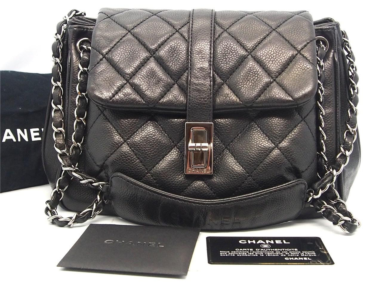 46156bde69ff Lyst - Chanel Authentic Black Quilted Soft Caviar Leather Reissue ...